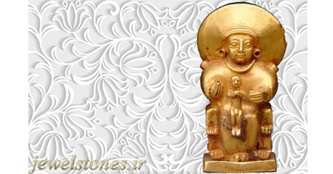 آویز طلا الهه نشسته